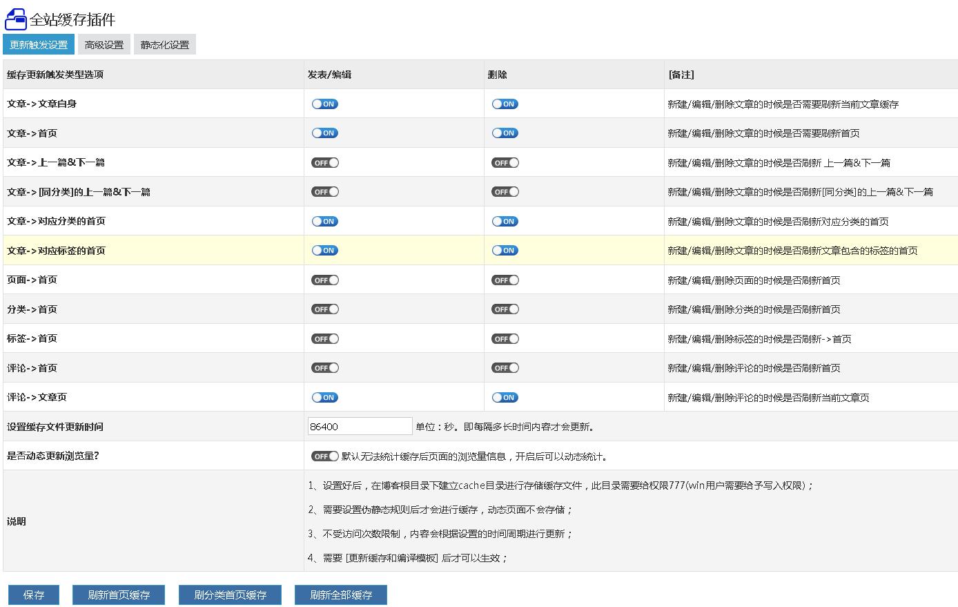 全站缓存(静态化)插件 精品应用 插件 ZBLOGPHP插件 第2张